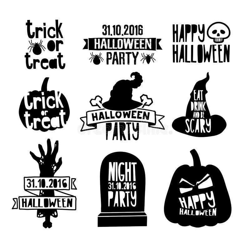 Ensemble d'insignes et de labels heureux de Halloween de vintage Décoration de logo de Halloween avec le potiron, main de zombi,  illustration stock