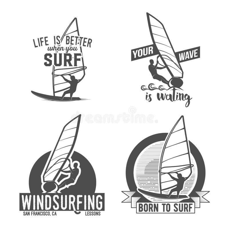 Ensemble d'insignes et de logos de planche à voile illustration libre de droits