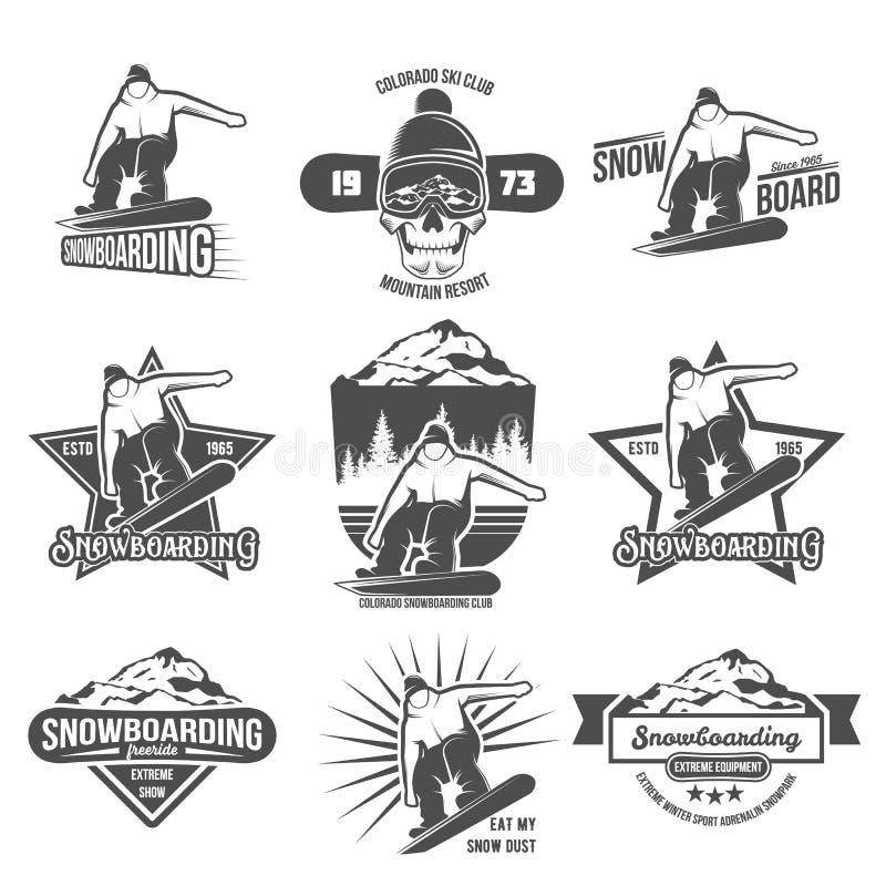 Ensemble d'insignes et de logotypes de snowboarding illustration de vecteur