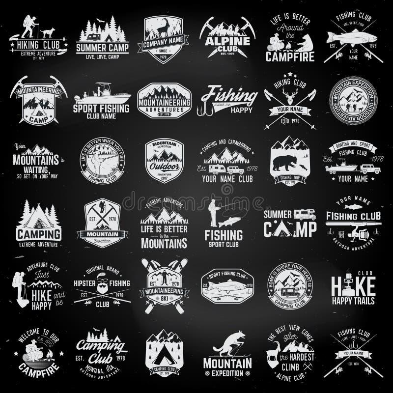 Ensemble d'insignes extrêmes d'aventure Concept pour la chemise ou le logo, la copie, le timbre ou la pièce en t illustration libre de droits