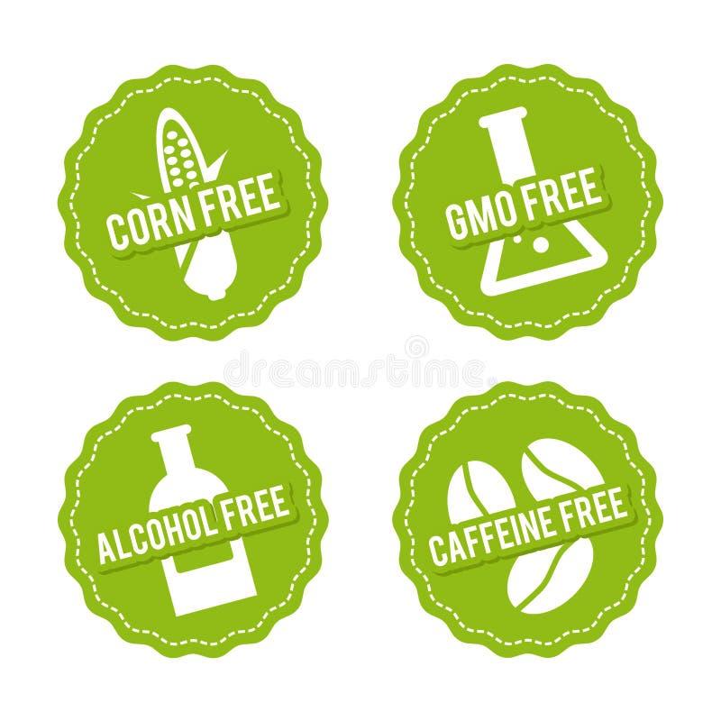 Ensemble d'insignes gratuits d'allergène Maïs gratuit, GMO gratuit, sans alcool, décaféiné Signes tirés par la main de vecteur Pe illustration libre de droits