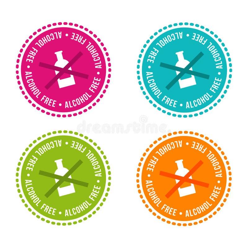 Ensemble d'insignes gratuits d'allergène Sans alcool Signes tirés par la main de vecteur Peut être employé pour la conception d'e illustration stock