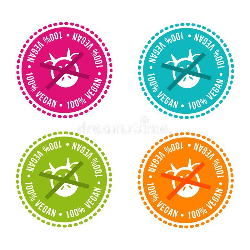 Ensemble d'insignes gratuits d'allergène vegan 100% Signes tirés par la main de vecteur Peut être employé pour la conception d'em illustration de vecteur