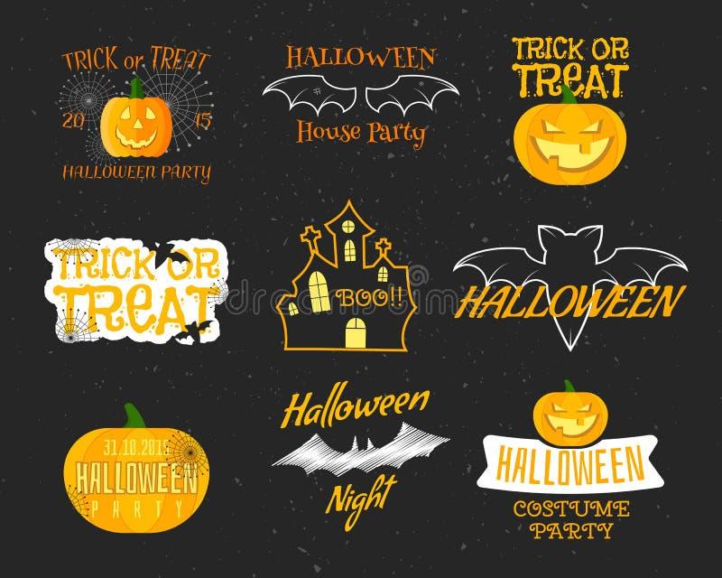 Ensemble d'insignes heureux de Halloween de vintage, labels illustration de vecteur