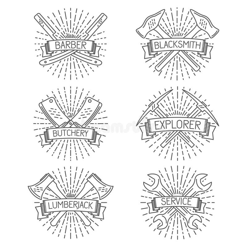 Ensemble d'insignes, labels, éléments de conception et illustration stock