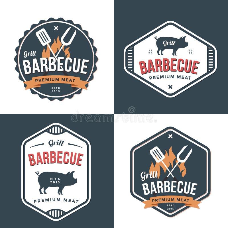Ensemble d'insignes, labels et logos pour le restaurant, boutique de porc de nourritures et barbecue Conception simple et minimal illustration de vecteur