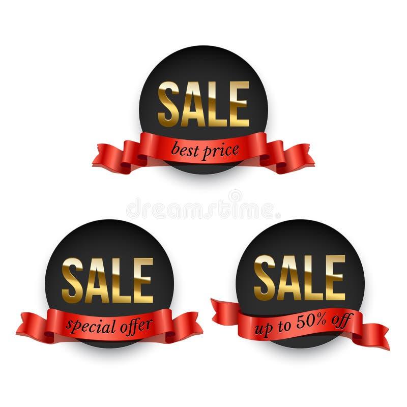 Ensemble d'insignes noirs ronds avec le mot d'or de vente décorés du ruban rouge d'isolement sur le fond blanc Promotion de vecte illustration stock