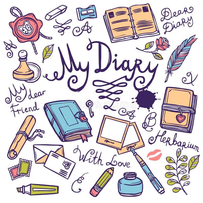 Ensemble d'instrument d'écriture de journal intime illustration stock