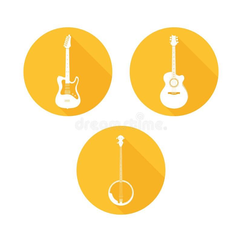Ensemble d'instruments de musique ficelés illustration stock