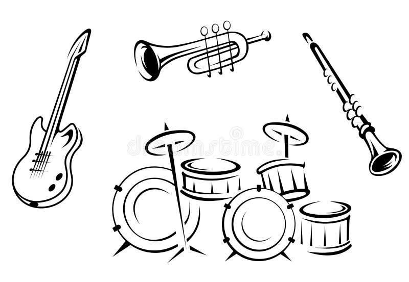 Ensemble d'instruments musicaux illustration de vecteur