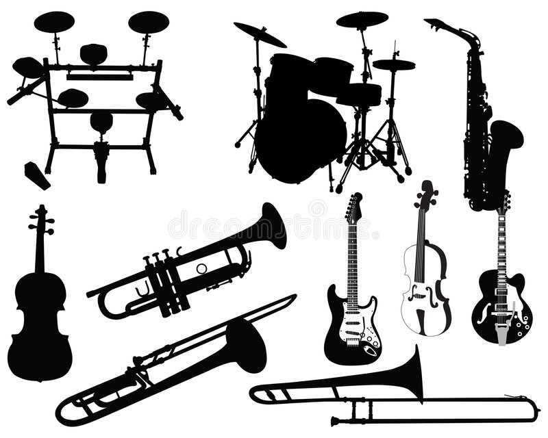 Ensemble d'instruments musicaux illustration libre de droits