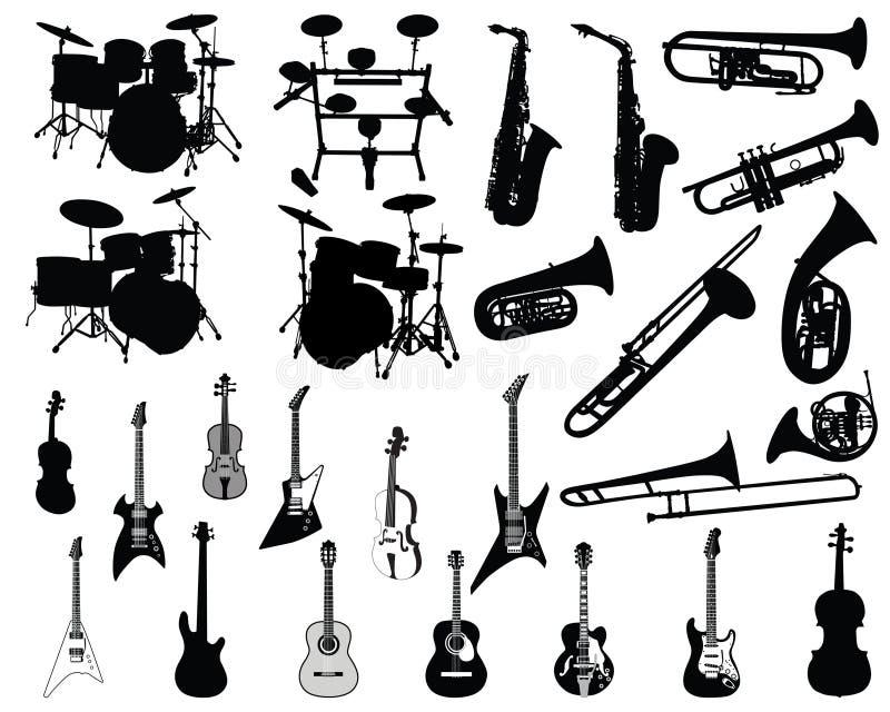 Ensemble d'instruments musicaux illustration stock