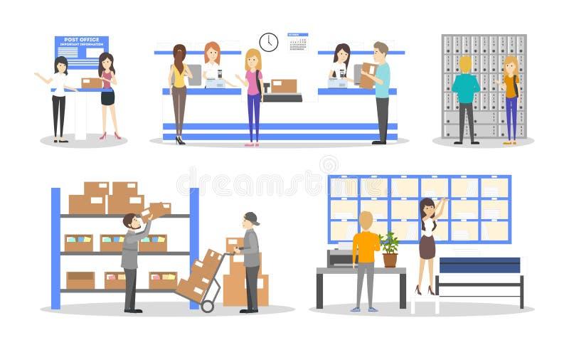 Ensemble d'intérieur de bureau de poste illustration libre de droits