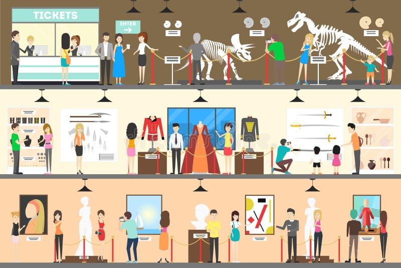 Ensemble d'intérieur de musée illustration de vecteur