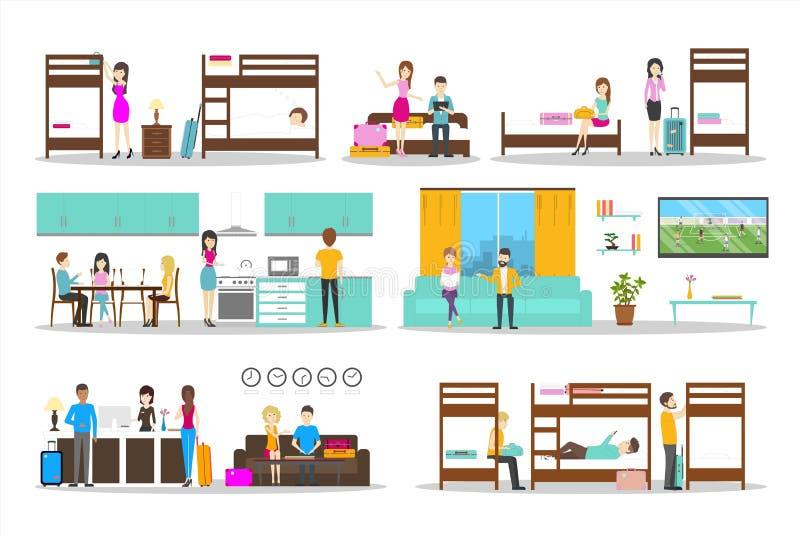 Ensemble d'intérieur de pension illustration stock