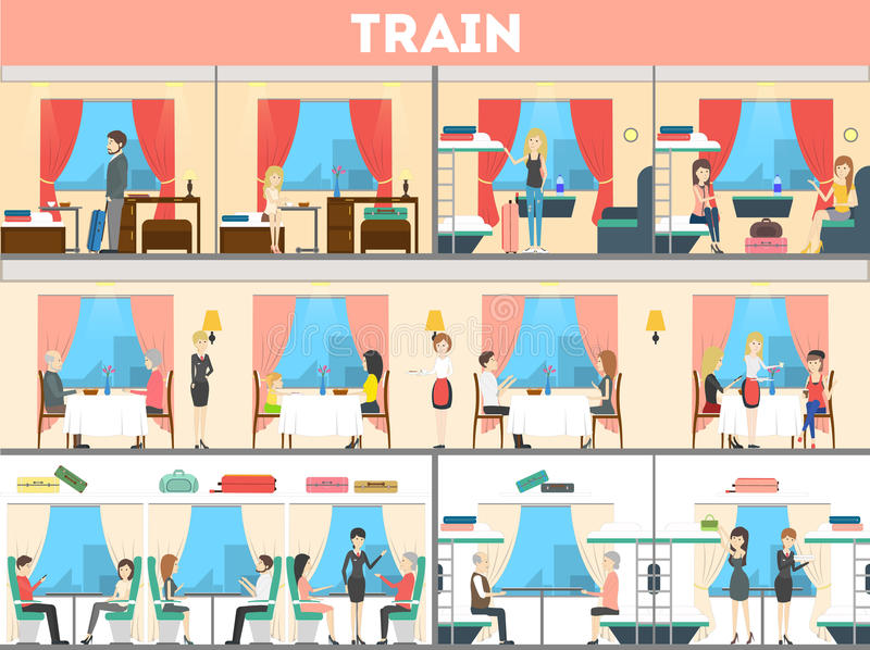 Ensemble d'intérieur de train illustration de vecteur