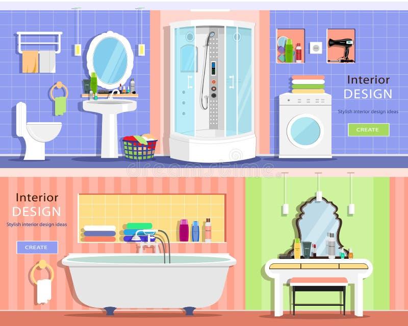 Ensemble d'intérieurs graphiques modernes de salle de bains : bain, carlingue de douches, lavabo, miroir, toilette, coiffeuse illustration libre de droits