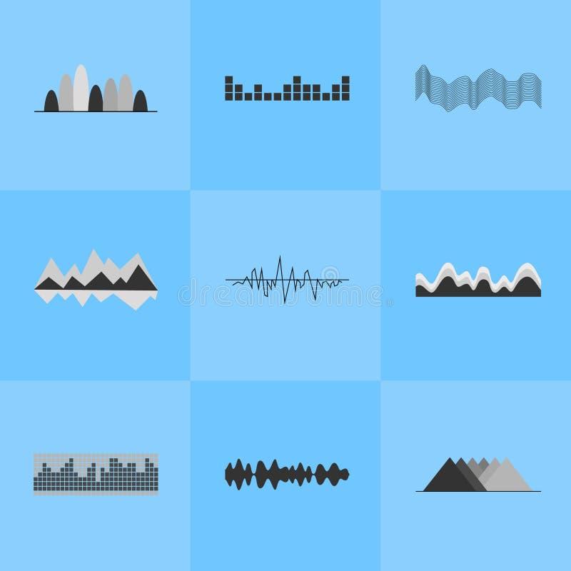 Ensemble d'interface d'égaliseur de musique de neuf icônes illustration de vecteur