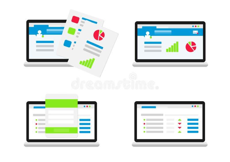 Ensemble d'interface utilisateurs plat illustration libre de droits