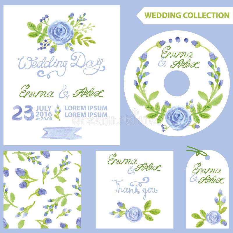 Ensemble d'invitation de mariage Fleurs de bleu d'aquarelle illustration libre de droits