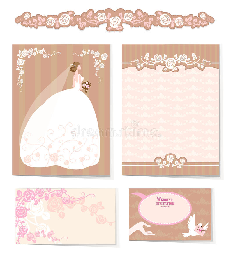 Ensemble d'invitations de mariage illustration de vecteur