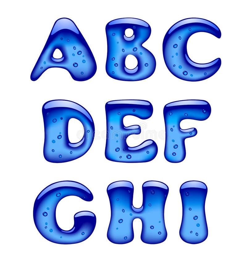 Ensemble d'isolat bleu de majuscules d'alphabet de gel, de glace et de caramel illustration libre de droits