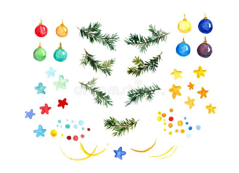 Ensemble d'isolement d'éléments décoratifs de Noël mignon Branches d'arbre de sapin, babioles, étoiles watercolor illustration de vecteur