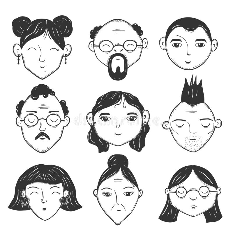 Ensemble d'isolement d'avatar de personnes illustration stock