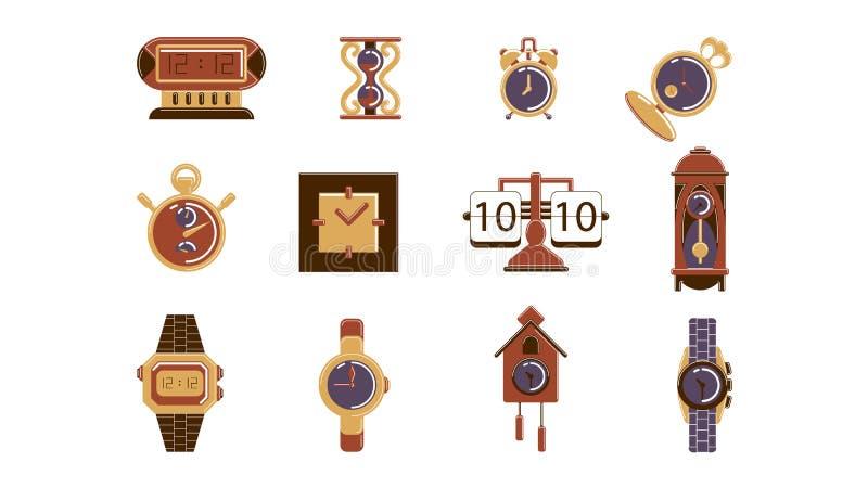 Ensemble d'isolement d'horloge illustration stock