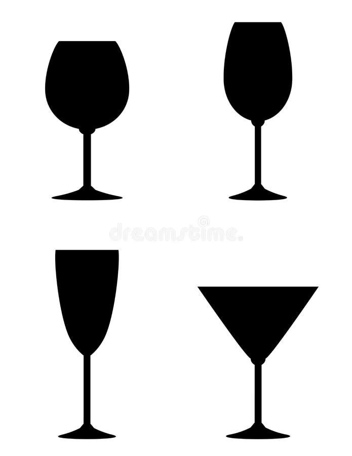 Ensemble d'isolement en verre de vin illustration stock