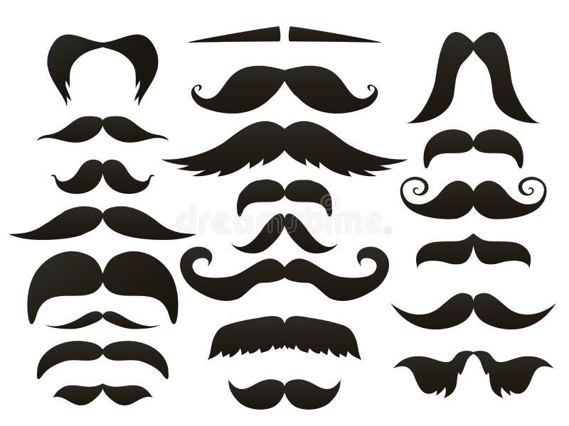 Ensemble d'isolement par icône de moustache de moustache Les fausses moustaches drôles pour le masque de bouche dirigent la colle illustration de vecteur