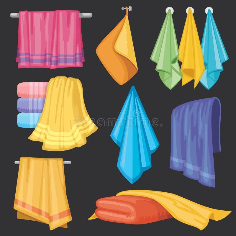 Ensemble d'isolement par serviettes accrochant et se pliant de cuisine et de bain de vecteur illustration stock