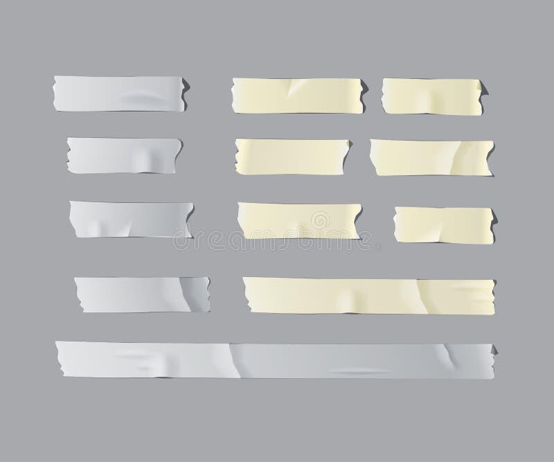 Ensemble d'isolement réaliste de ruban adhésif de vecteur illustration de vecteur
