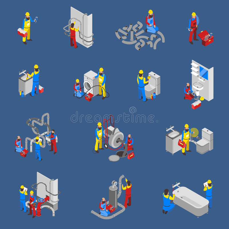 Ensemble d'Isometric People Icon de plombier illustration de vecteur