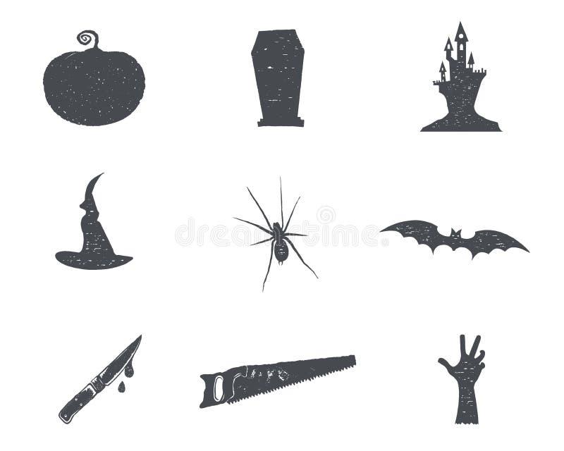 Ensemble d'isons de silhouette de Halloween Les symboles tirés par la main de partie de Halloween de vintage conçoivent pour célé illustration libre de droits