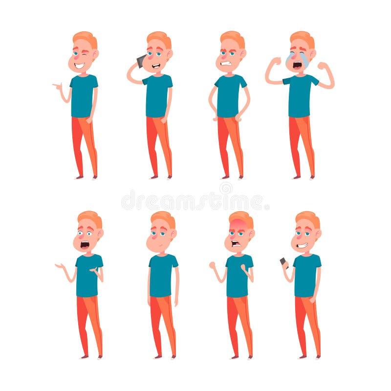 Ensemble d'?motions faciales masculines Caract?re barbu d'emoji d'homme avec diff?rentes expressions Illustration de vecteur dans illustration libre de droits
