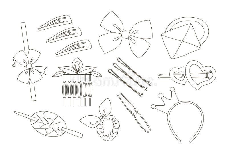 Ensemble d'objet d'accessoires de cheveux illustration de vecteur