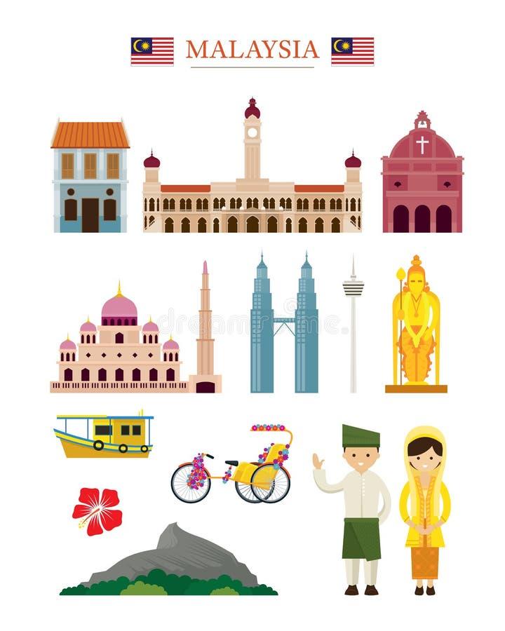 Ensemble d'objet de bâtiment d'architecture de points de repère de la Malaisie illustration libre de droits