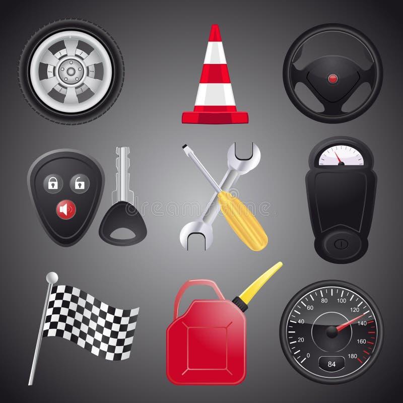 Ensemble d'objets d'automobile illustration de vecteur
