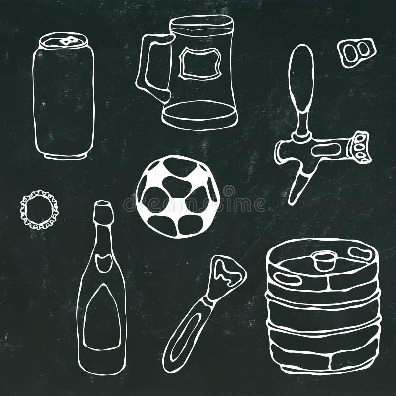 Ensemble d'objets de bière : Peut et la clé, tasse, robinet, bouteille, boule du football, ouvreur, barillet Sur un tableau noir illustration de vecteur