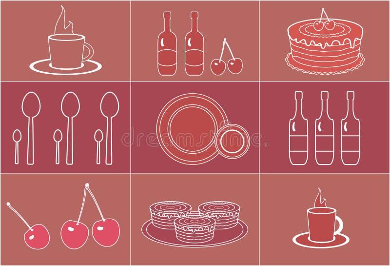 Ensemble d'objets de dessert de silhouettes illustration stock