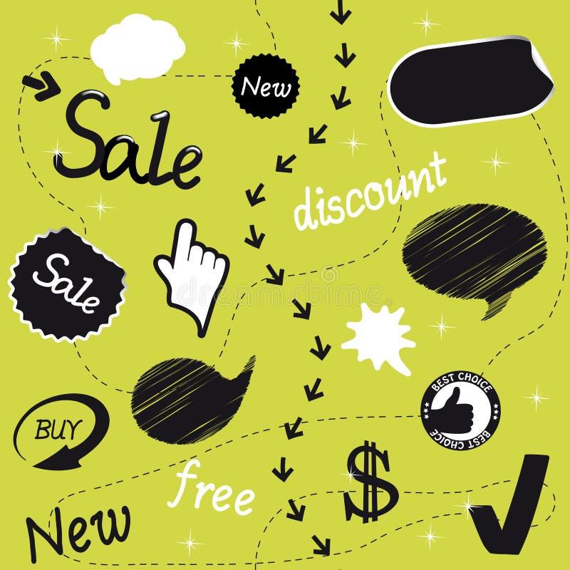 Ensemble d'objets de vente illustration libre de droits