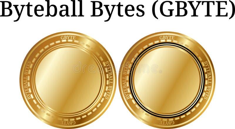 Ensemble d'octets d'or physiques G-octet, cryptocurrency numérique de Byteball de pièce de monnaie Ensemble d'icône de G-octet d' illustration libre de droits