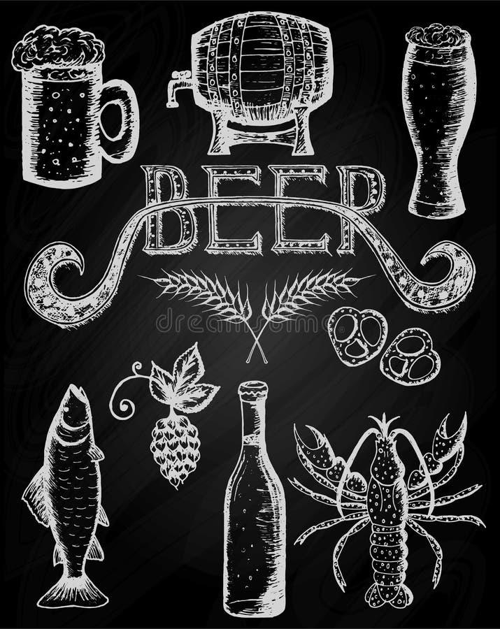Ensemble d'Octoberfest de bière sur un tableau illustration stock