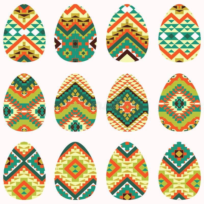Ensemble d'oeufs de pâques dans le style de Navajo illustration libre de droits