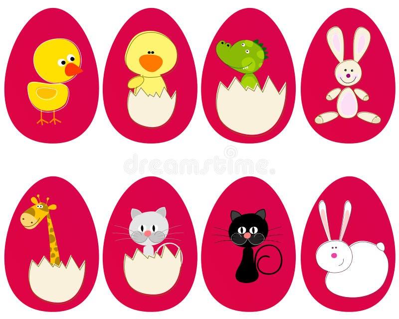 Ensemble d'oeufs de pâques mignons illustration libre de droits