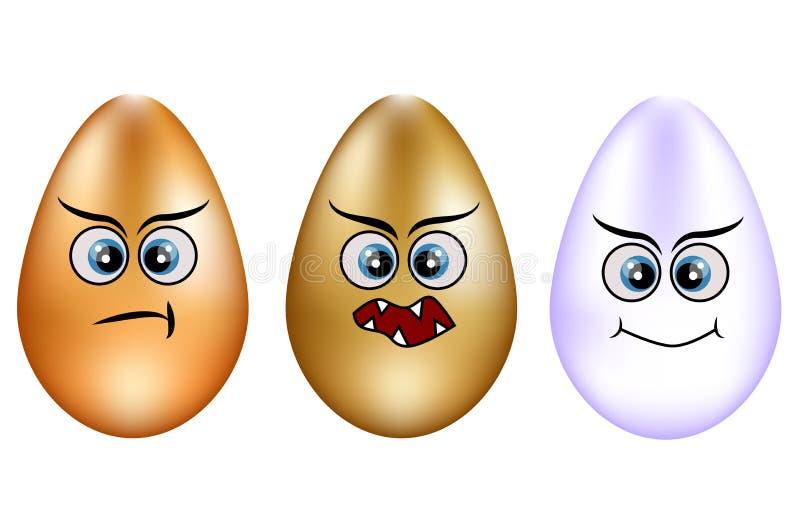 Ensemble d'oeufs de pâques mignons Placez de l'oeuf d'Emoji Oeufs de sourire Appartement d'isolement illustration libre de droits