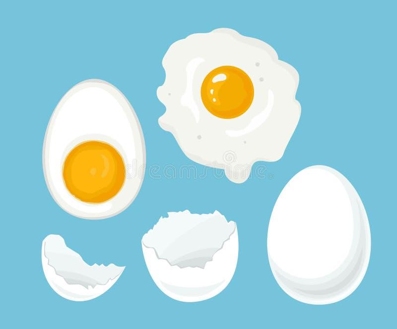 Ensemble d'oeufs de poulet Coquille blanche cassée, oeuf entier, demi bouillie et fait frire illustration libre de droits