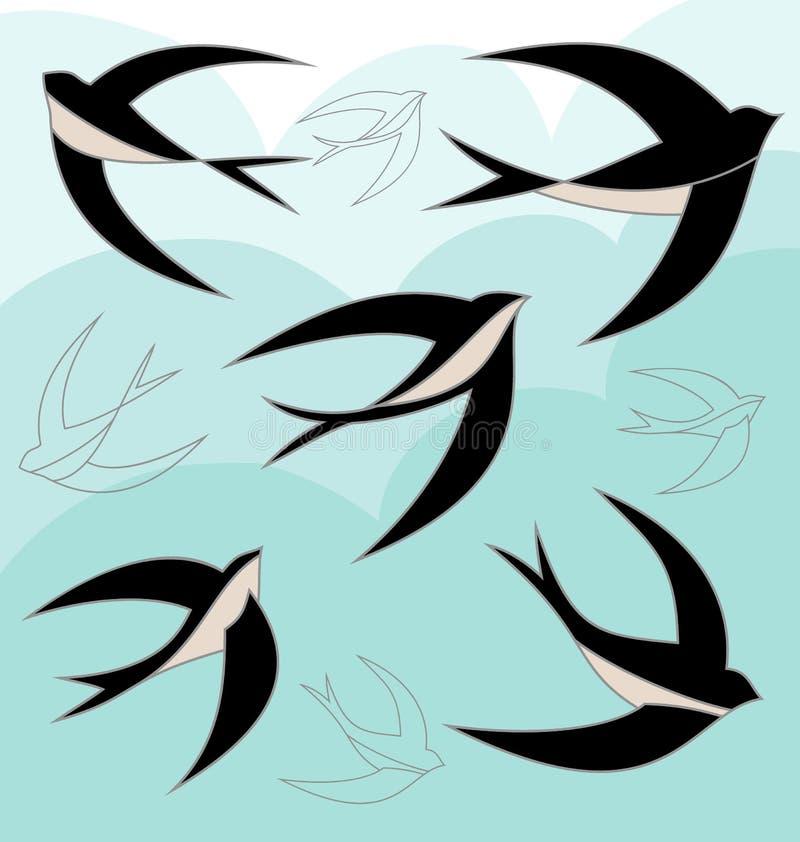 Ensemble d'oiseau d'hirondelle illustration libre de droits