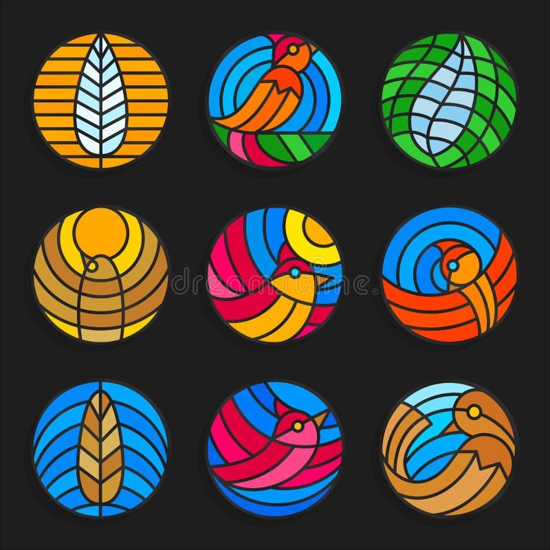Ensemble d'oiseaux en verre souillé et d'icônes de plumes - illustration courante de vecteur illustration de vecteur